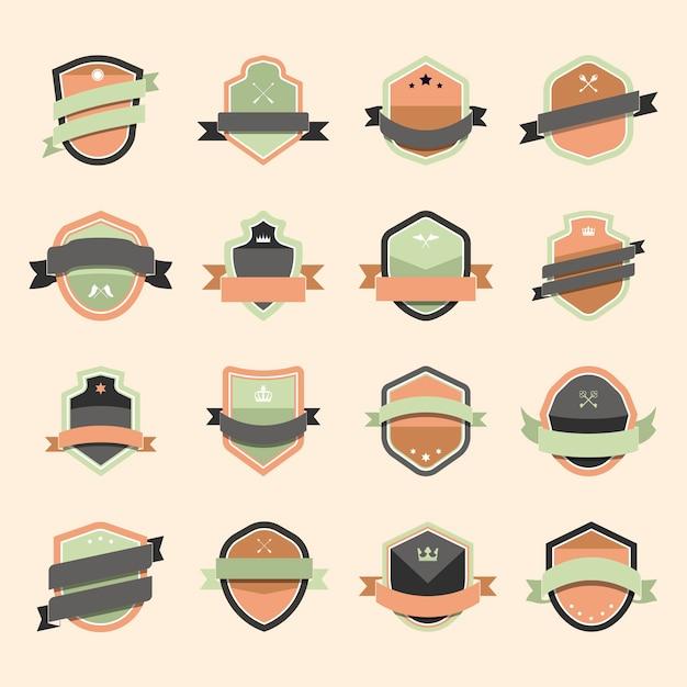 Set van kleurrijke schild pictogram verfraaid met banner vectoren