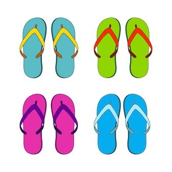 Set van kleurrijke slippers