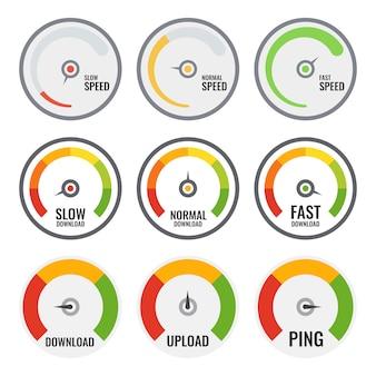 Set van kleurrijke snelheidsmeter. drie verschillende. internetsnelheid.