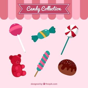 Set van kleurrijke snoepjes in vlakke stijl