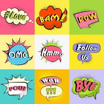 Set van kleurrijke stripbellen met verschillende expressietekst, vintage pop art design met halftoon effect.