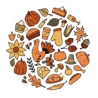 Set van kleurrijke thanksgiving doodles