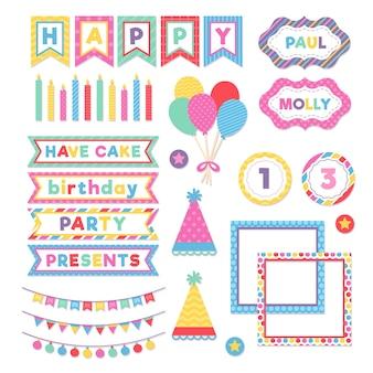 Set van kleurrijke verjaardag plakboek