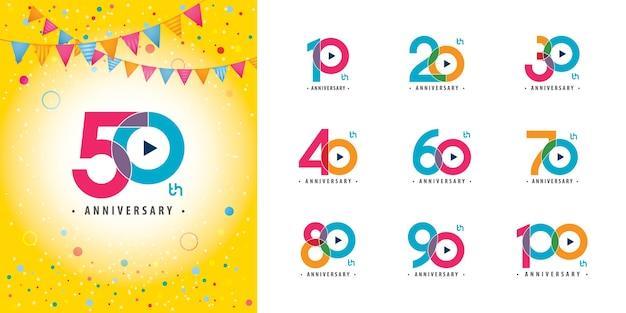 Set van kleurrijke verjaardagslogo