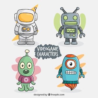 Set van kleurrijke video game karakters