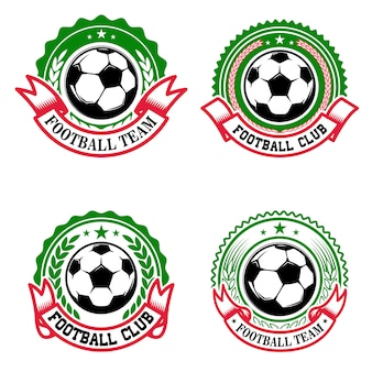 Set van kleurrijke voetbalclub emblemen. voetbalclub. element voor logo, label, embleem, teken. illustratie