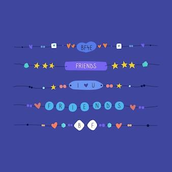 Set van kleurrijke vriendschapsbanden