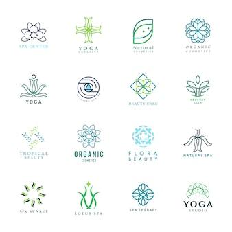 Set van kleurrijke yoga en spa logo vector