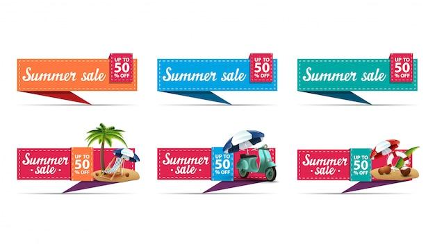 Set van kleurrijke zomer korting banners in de vorm van textiel marker versierd met zomer pictogrammen