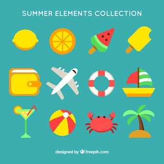 Set van kleurrijke zomerelementen in plat ontwerp