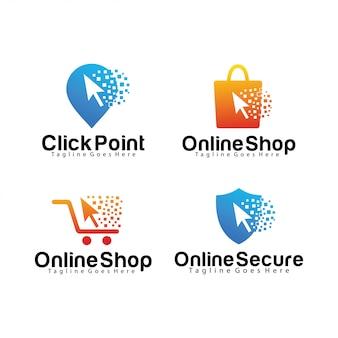 Set van klik logo sjabloon