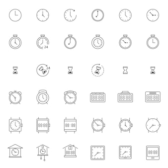 Set van klok en horloge pictogram