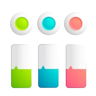 Set van knoppen en stroken collectie met ronde elementen en stroken verdeeld over twee kleuren met kleine pijl op het wit