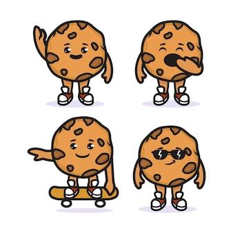 Set van koekjes chocoladeschilfers mascotte ontwerp