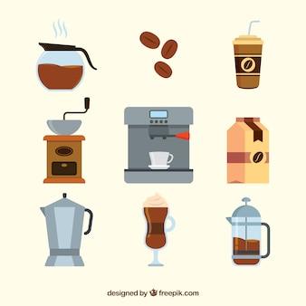 Set van koffie accessoires in plat design