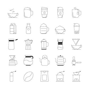 Set van koffie en coffeeshop gerelateerde vectorlijnpictogrammen