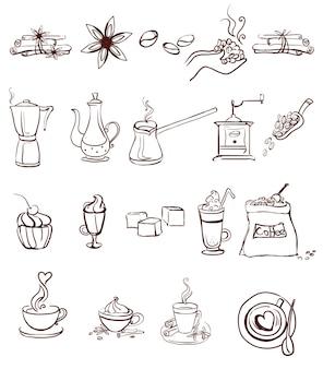 Set van koffie iconen