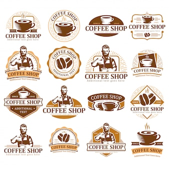 Set van koffie logo, koffie label badge of embleem pack, café label collectie.