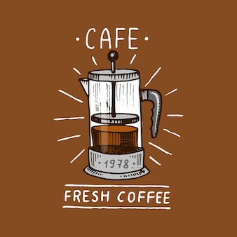 Set van koffie. moderne vintage elementen voor het winkelmenu. illustratie.