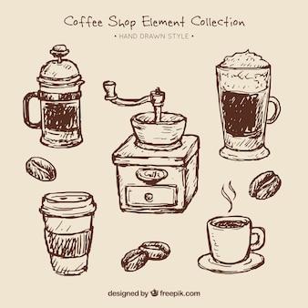 Set van koffie schetsen en koffiemolen
