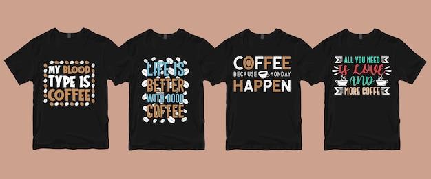 Set van koffie t-shirt bundel