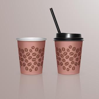 Set van koffiekopjes - wegwerp plastic en papieren serviesjabloon voor warme dranken,.