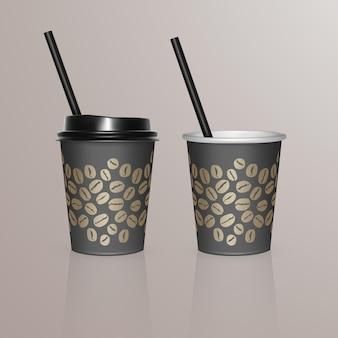 Set van koffiekopjes - zwarte kartonnen koffiekopjes. wegwerp plastic en papieren serviesjabloon voor warme dranken,