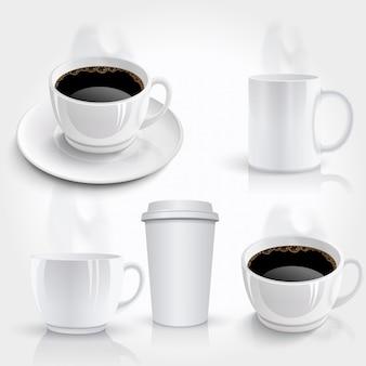 Set van koffiekopjes.
