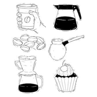 Set van koffietijd of koffiepauze illustratie met hand tekenen of doodle stijl