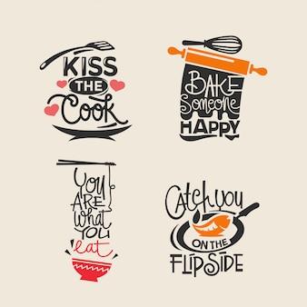 Set van koken en keuken citaten label, typografie papier knippen en belettering