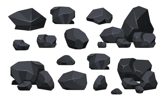 Set van kolen zwarte minerale hulpbronnen. fossiele stenen stukken van veelhoekige vormen, rots van grafiet of houtskool. energiebron houtskool icons collectie geïsoleerd op een witte achtergrond. vectorillustratie