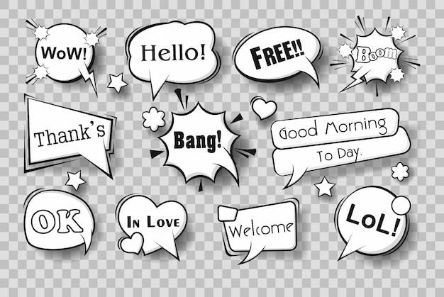 Set van komische tekstballonnen