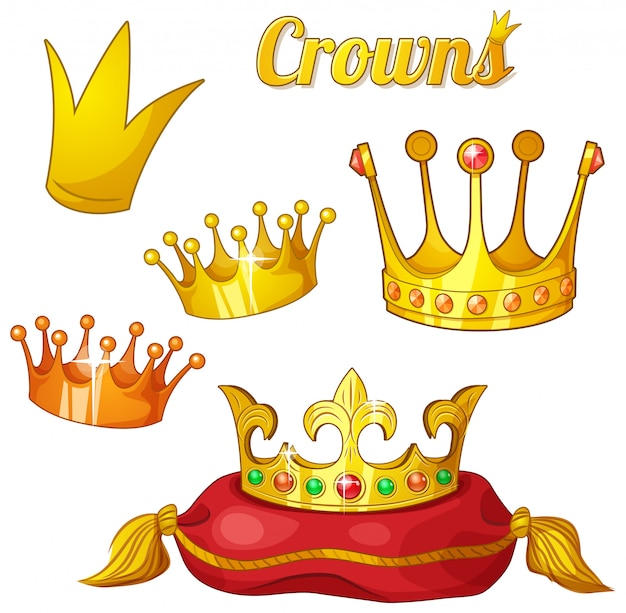 Set van koninklijke gouden kronen op wit wordt geïsoleerd