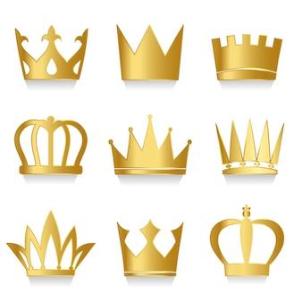 Set van koninklijke kronen vector