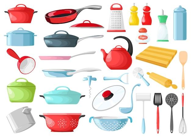 Set van kookgerei geïsoleerd. keukengerei.