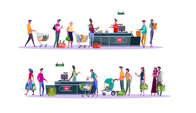 Set van kopers betalen voor aankopen bij de kassa van de supermarkt
