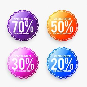 Set van korting te koop labels in verschillende kleuren