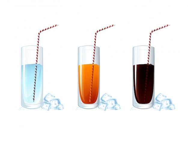 Set van koude drankglazen op witte achtergrond. illustratie