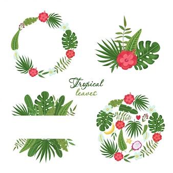 Set van krans met kleurrijke tropische bladeren en bloemen