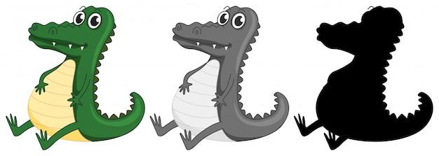 Set van krokodil karakter