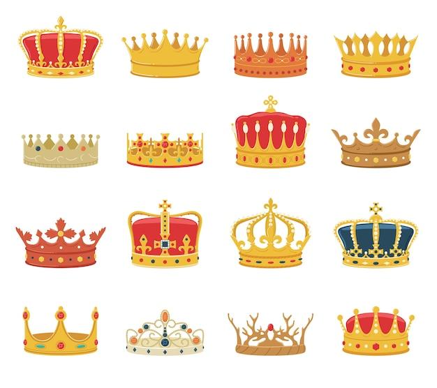Set van kronen geïsoleerd op een witte achtergrond