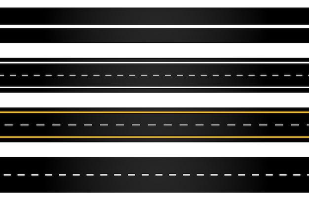 Set van kronkelende weg en snelwegen met scheidingsmarkeringen geïsoleerd
