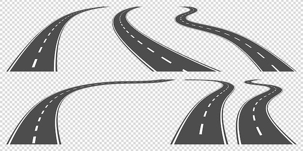 Set van kronkelende wegen, ollustration
