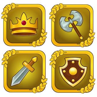 Set van kroon, houten schild, zwaard en bijl