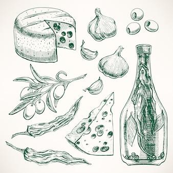 Set van kruiden, kazen en groenten. knoflook, olijven, chilipeper. handgetekende illustratie