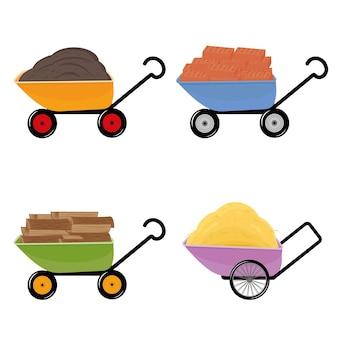 Set van kruiwagen met verschillende materialen baksteen, hooi, brandhout en aarde, geïsoleerde vectorillustratie.