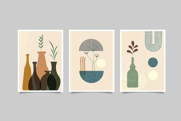 Set van kunst aan de muur abstracte hedendaagse collectie