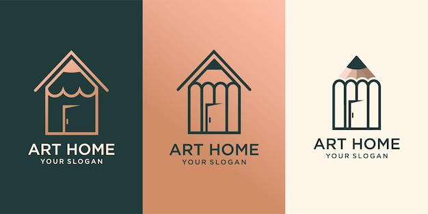 Set van kunst thuis. logo afbeeldingen illustratie ontwerp premium vector