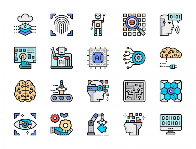 Set van kunstmatige intelligentie color line icons. engineering, transportband, big data