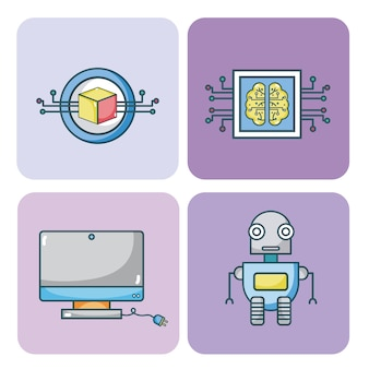 Set van kunstmatige intelligentie iconen collectie